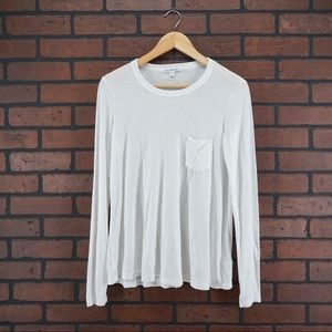 James Perse Tops - JAMES PERSE White Weathered Long Sleeve T-Shirt 2